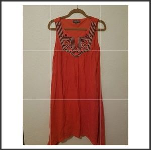 Luxology red flowing dress.